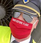 Kangasmaski: Remove before flight (punainen)